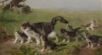 katzenmutter mit ihren jungen auf der wiese by julius adam the younger