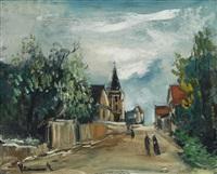 dorfstrasse mit kirche by maurice de vlaminck