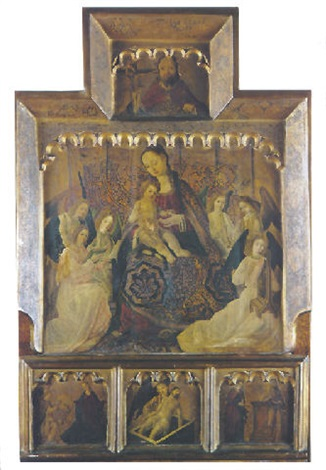 la vierge et lenfant entourés par les anges musiciens