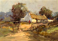 thatched cottage with figure by christiaan nice