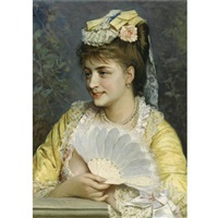 an elegant lady holding a fan by leonardo gasser