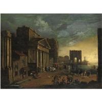 veduta ideata di un porto con monumenti classici by alessandro salucci