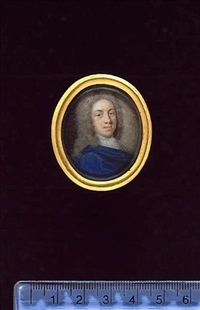 a gentleman, wearing blue cloak, white lace cravat and full-bottomed powdered wig by benjamin arlaud