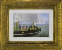 zar nikolaus i. mit seinem gefolge am deck eines segelschiffes, entlang der küste von reval (tallien) segelnd by andrej stackenschneider