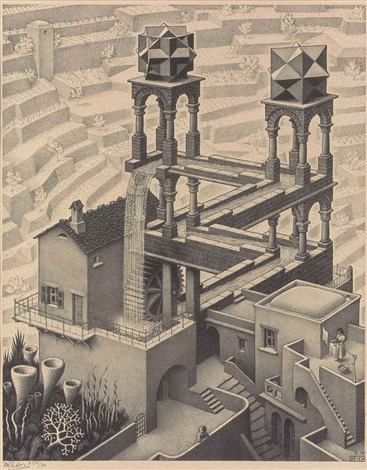 waterfall by m c escher