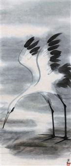 白鹭 镜心 设色纸本 (egret) by lin fengmian