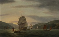 a frigate lugger and merchant ship in dartmouth harbor by thomas luny