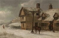 figures outside a tavern in a wintry landscape by thomas smythe