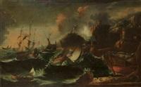 bateaux sur une mer agitée (pair) by antonio francesco peruzzini
