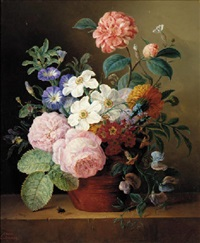 roses, narcissi, morning glory, primulas and geraniums in a pot on a ledge by adrianne e. rebourg