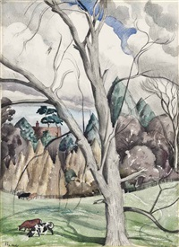 landscape with trees by john northcote nash