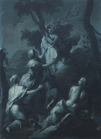 bacco bambino accudito da mercurio e ninfe by aureliano milani