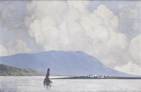 landscape with fishing boat by paul henry