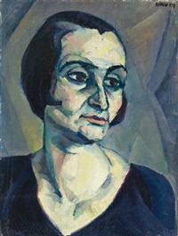 expressionistisches frauenbildnis (expressionist portrait of a woman) by robert amrein