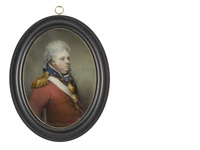 an officer supported by his crutch and wearing scarlet coat with blue standing collar and facings edged with gold, gilt-metal gorget by nathaniel freese