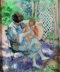 jeune femme et son enfant dans un jardin by henri lebasque