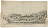 portrait of an english ship, viewed from the port beam (on 2 joined sheets) by willem van de velde the elder