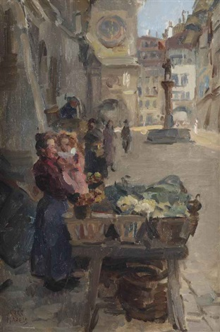 selling vegetables at kramgasse bern by isaac israels