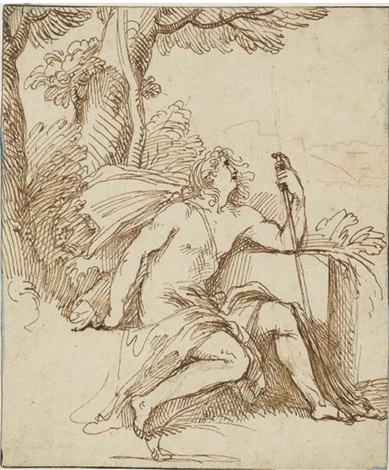 john the baptist in profile to the right seated in a landscape by giovanni luigi valesi valesio