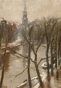 view of the singel canal in amsterdam in winter by solomon garf
