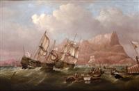 vista del peñon de gibraltar by r.j. pew