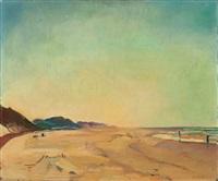 beachscene, groet/bergen by harrie kuyten
