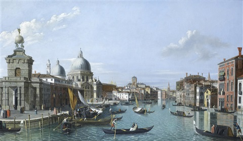 a view of the entrance to the grand canal venice looking west with the dogana and santa maria della salute to the left and the palazzo tiepolo to the right by canaletto
