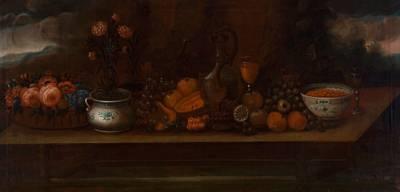 stilleben med frukt glass og blåhvitt porslen by peder pedersen aadnäs
