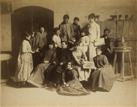 studio at the pennsylvania academy with female and male students by thomas eakins