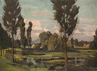 landschaft mit fischteich by lili gödlová-brandhuberová