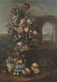 vase de fleurs, fruits variés dans un plat, pommes et grenades dans un paysage by franz werner von tamm