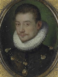 portrait of a gentleman, bust-length, in a grey slashed coat and a ruff, wearing the order of saint michael by british school (16)