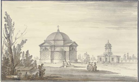 the tomb of lanskoi with the church at tsarskoe selo by giacomo quarenghi