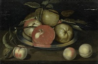 apples in a pewter dish with peaches on a table top by jacob woutersz vosmaer
