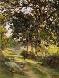 canard et oie dans un chemin by eugène labitte