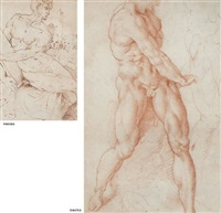 a male nude and sketches of a torso and a leg by domenico beccafumi