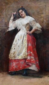 portrait d'une joueuse de castagnettes by marceliano santamaria y sedano