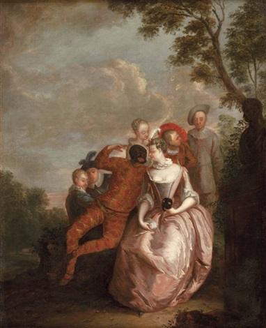 die schauspieler der commedia dellarte or circle of nicolas lancret by jean antoine watteau