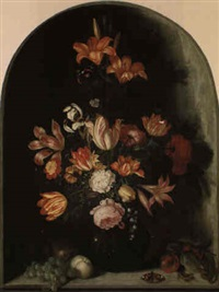 still life of flowers on a ledge, within a niche by johannes bosschaert