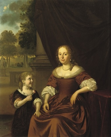 portrait of a lady in a brown dress and pearl necklace seated by a table a girl by her side holding a flower by pieter cornelisz van slingeland
