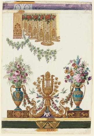 Designs For Silk Wall Coverings With Harps Flanked By Vases Of