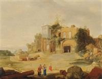 paysage italianisant aux ruines antiques by pieter anthonisz van groenewegen