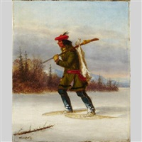 indian trapper on snowshoes by cornelius david krieghoff