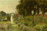 jeune femme dans le jardin au printemps by henry john yeend king