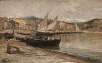 barques sur la plage à collioure by louis appian