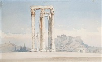 view of the temple of olympian zeus, athens (+ another, similar; pair) by angelos giallina