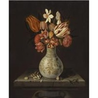 still life with tulips, crocuses, primroses and other flowers in a vase on a stone plinth with shells by jan baptist fornenburgh