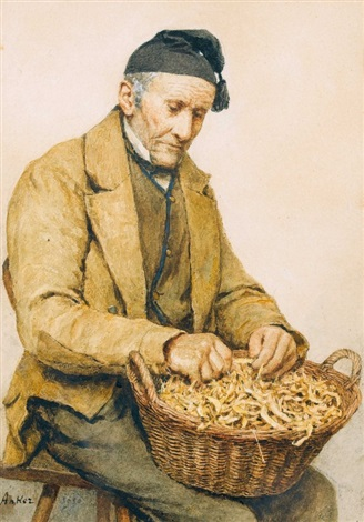 alter bauer mit bohnenkorb by albert anker