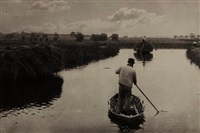 quanting the marsh hay, plate xvi from life and landscape on the norfolk broads by peter henry emerson