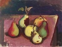 birnen und äpfel auf einem tisch by karl hofer